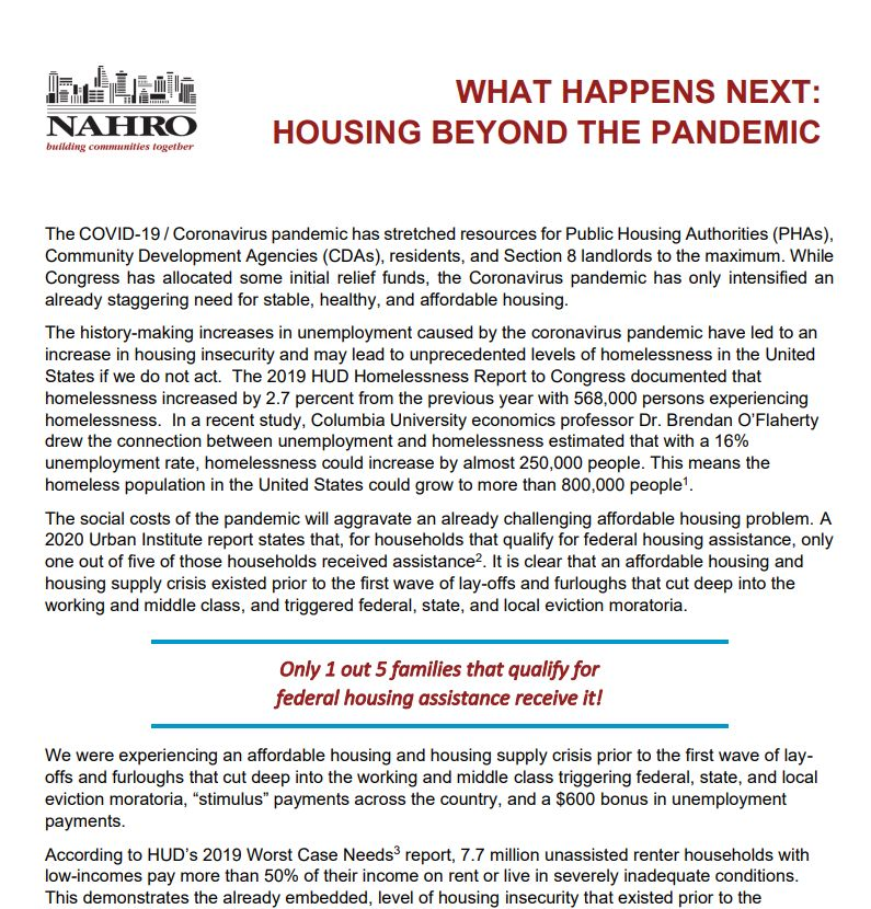 """Screenshot of part of the front page of NAHRO's """"What Happens Next: Housing Beyond the Pandemic"""" proposal."""